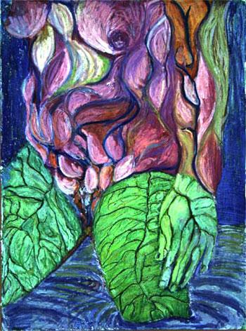 Kuukautiset/Menstruation, öljypastelli/oil pastel, 2003