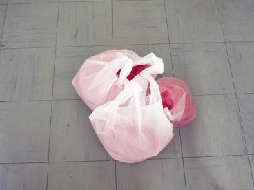 Jumala rakastaa meitä vain maanantaisin/God loves us only on Mondays, organza, plastic bags, 2012