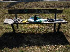 garbage gathered from around the bushes and placed tidily on bench