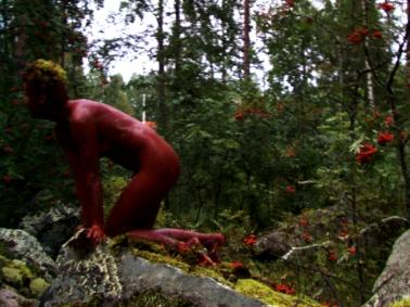 Red okra splash/Punamultapläjäys, 1998, SuoMen performanssiryhmä, Juuka. kuva Sakari Sali.