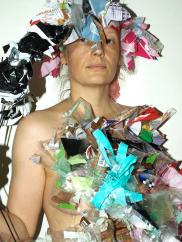 Wearing my garbage, made clothes of my household plastic garbage, 2012