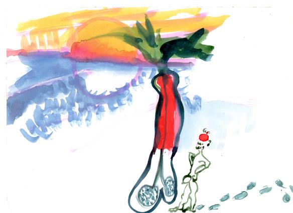 Maisema, Pää jäässä, muna pystyssä./Landscape, Frozen head, dick upright., 1999