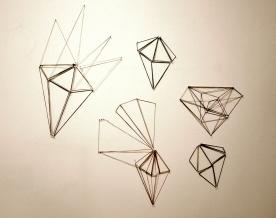 Forever now, kuminauhat, naulat/rubberbands and nails, 2012