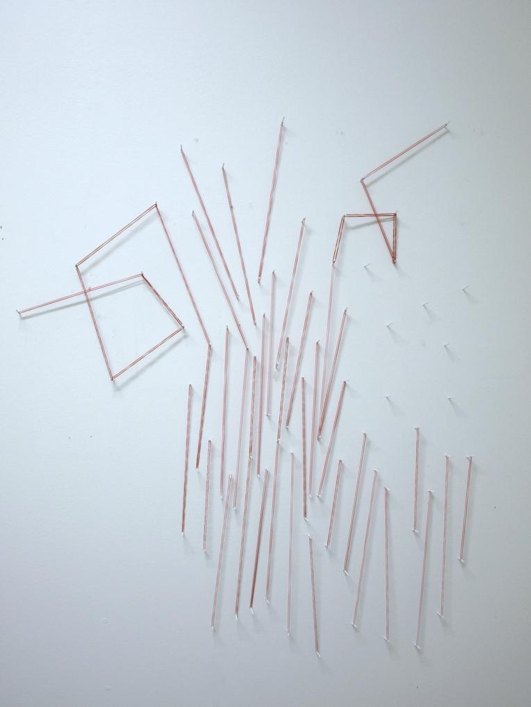 Untitled, kuminauhat ja naulat/rubberbands and nails, 2011