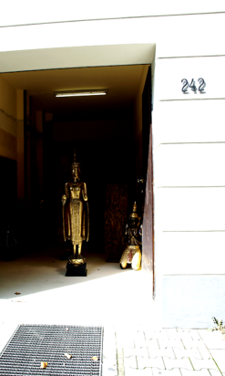 Buddha at a doorway