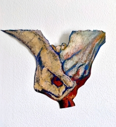 Human after all, cutout, oil pastel on paper2003