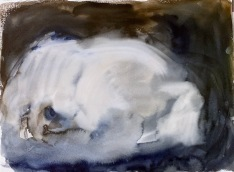 Yöpaita lattialla/Nightgown on the floor, watercolour, 2002